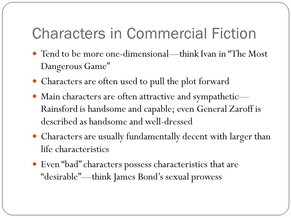 Characters in Commercial Fiction