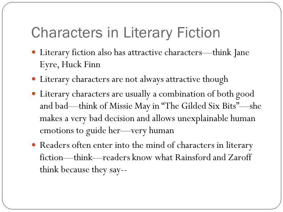 Characters in Literary Fiction