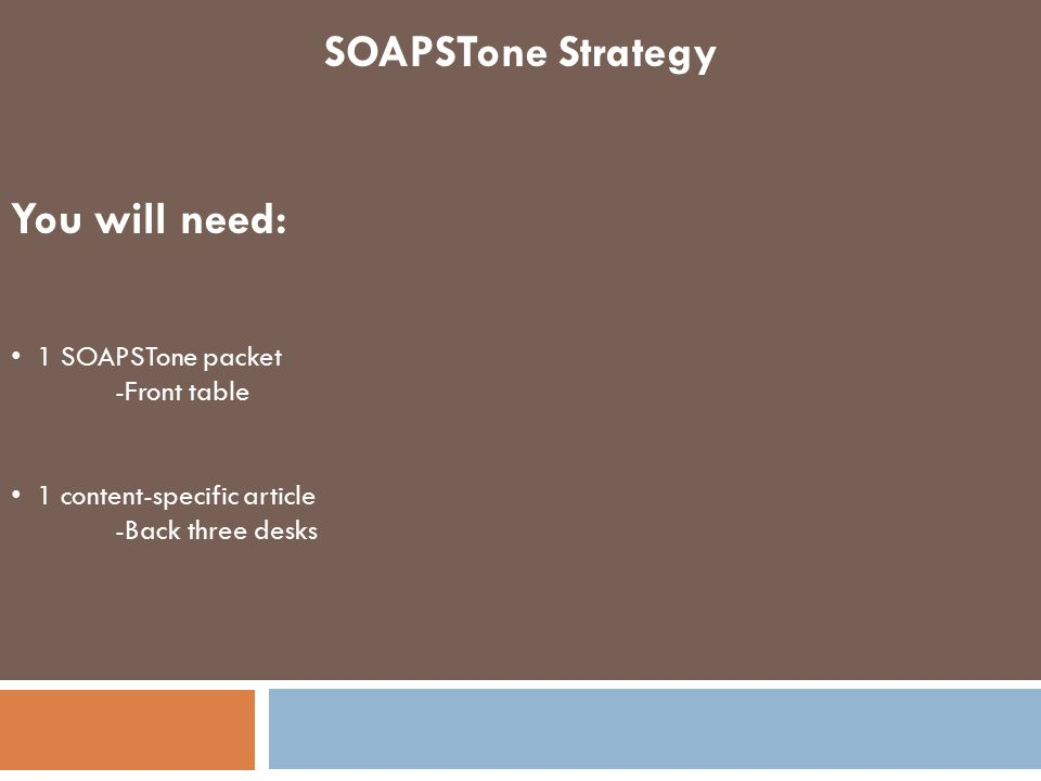 SOAPSTone Strategy You will need: 1 SOAPSTone packet -Front table
