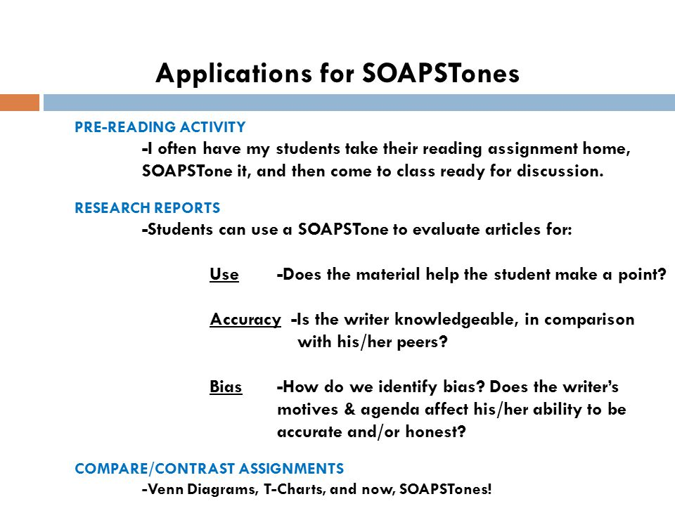 Applications for SOAPSTones