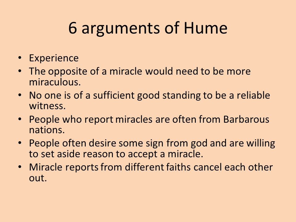 6 arguments of Hume Experience