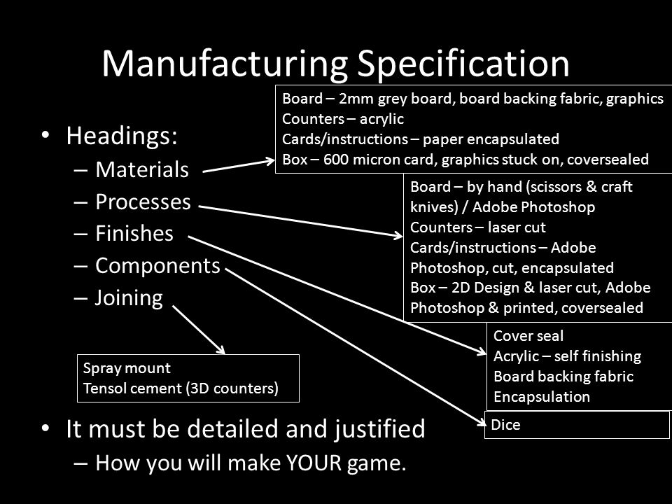 Manufacturing Specification