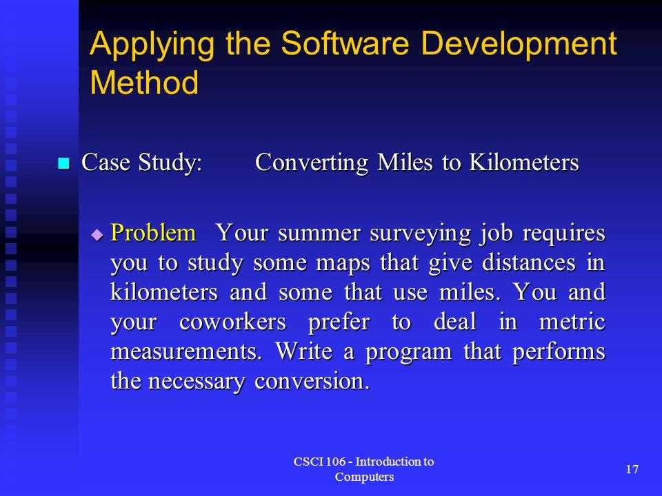 Applying the Software Development Method
