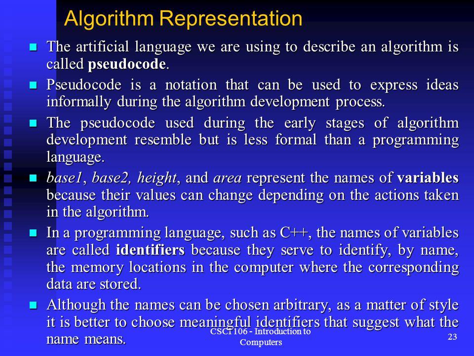 Algorithm Representation