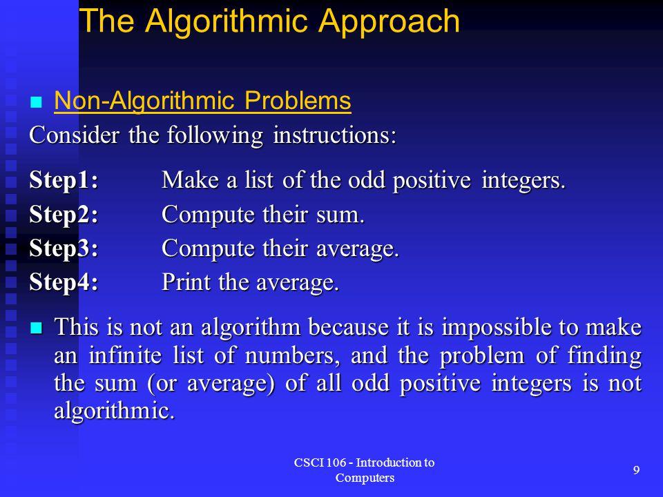 The Algorithmic Approach
