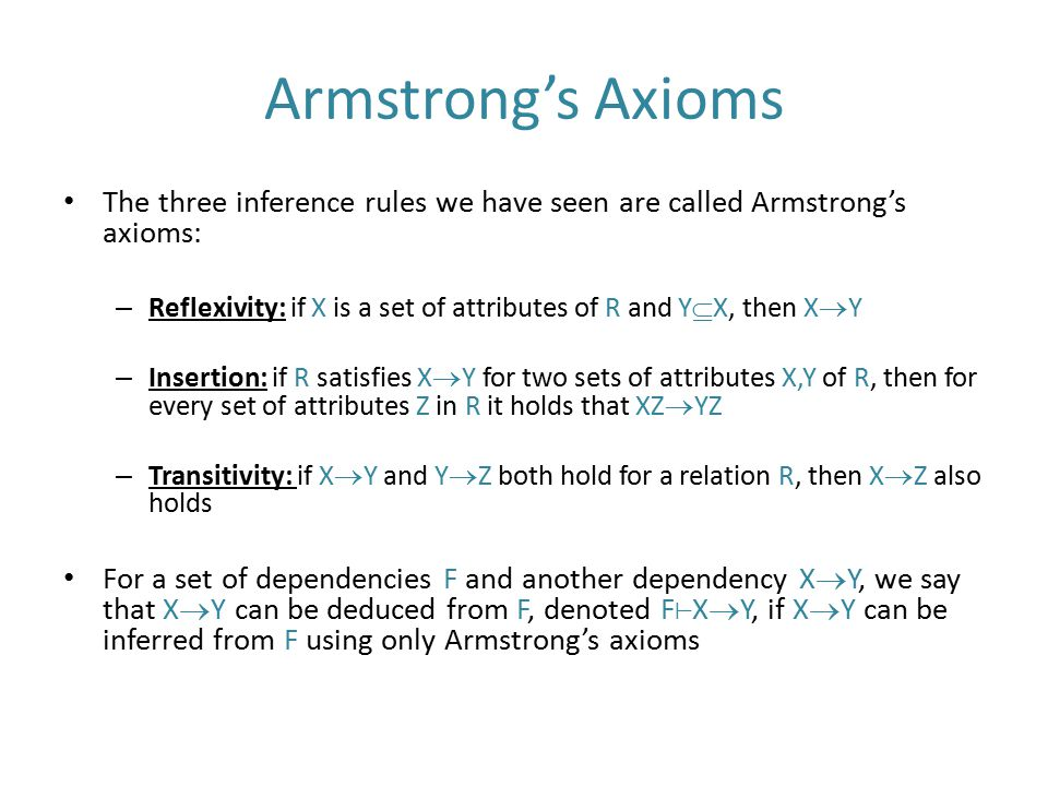Armstrong's Axioms The three inference rules we have seen are called Armstrong's axioms:
