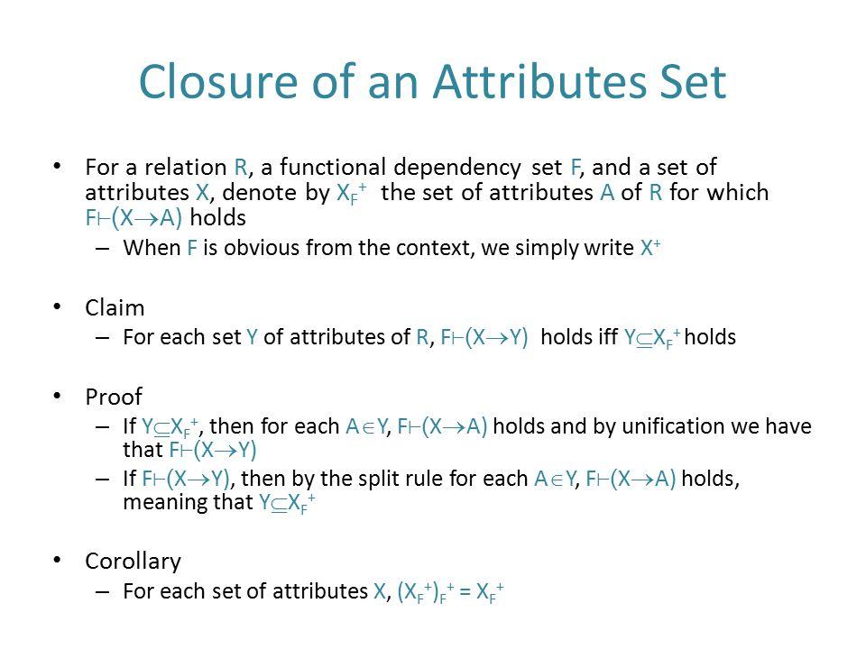Closure of an Attributes Set