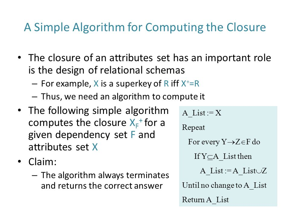 A Simple Algorithm for Computing the Closure