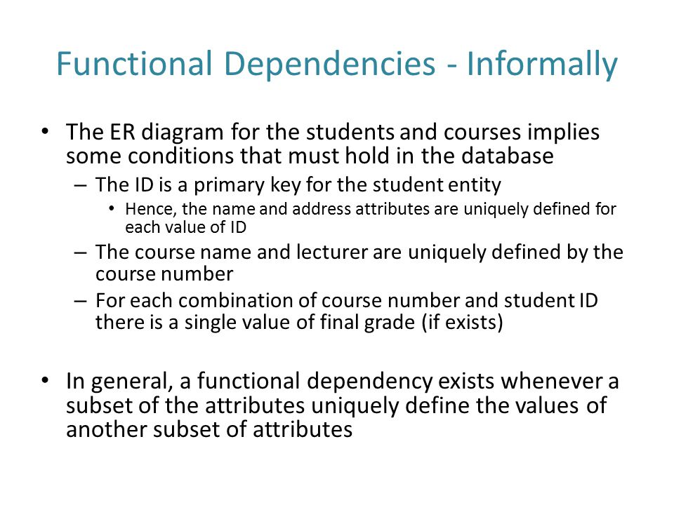 Functional Dependencies - Informally