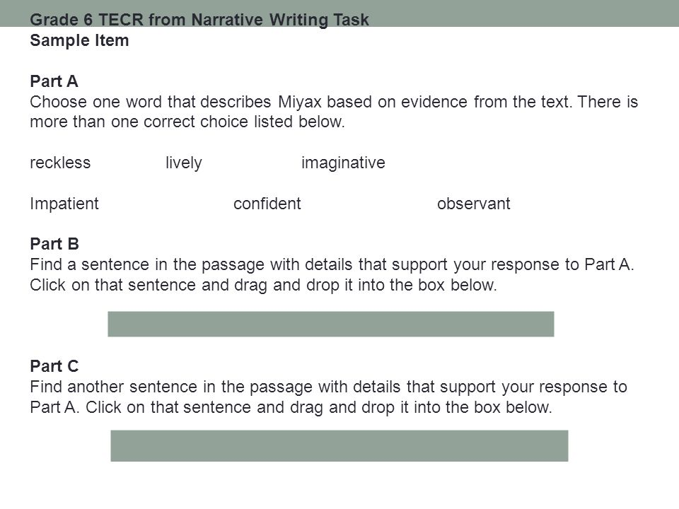 Grade 6 TECR from Narrative Writing Task
