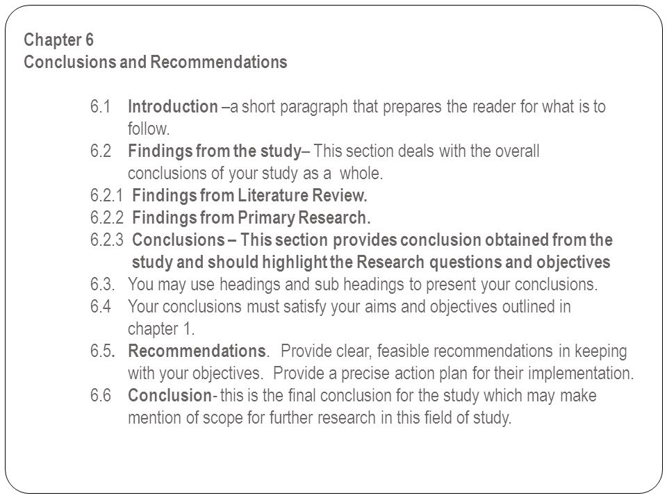 Chapter 6 Conclusions and Recommendations. 6