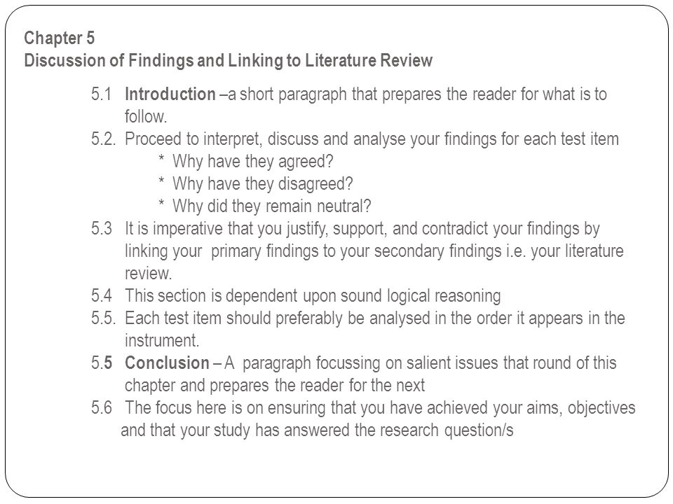 Chapter 5 Discussion of Findings and Linking to Literature Review. 5
