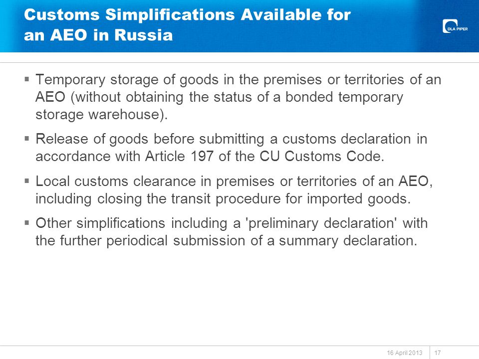 Customs Simplifications Available for an AEO in Russia