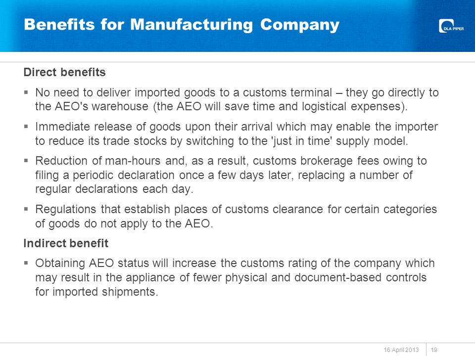Benefits for Manufacturing Company