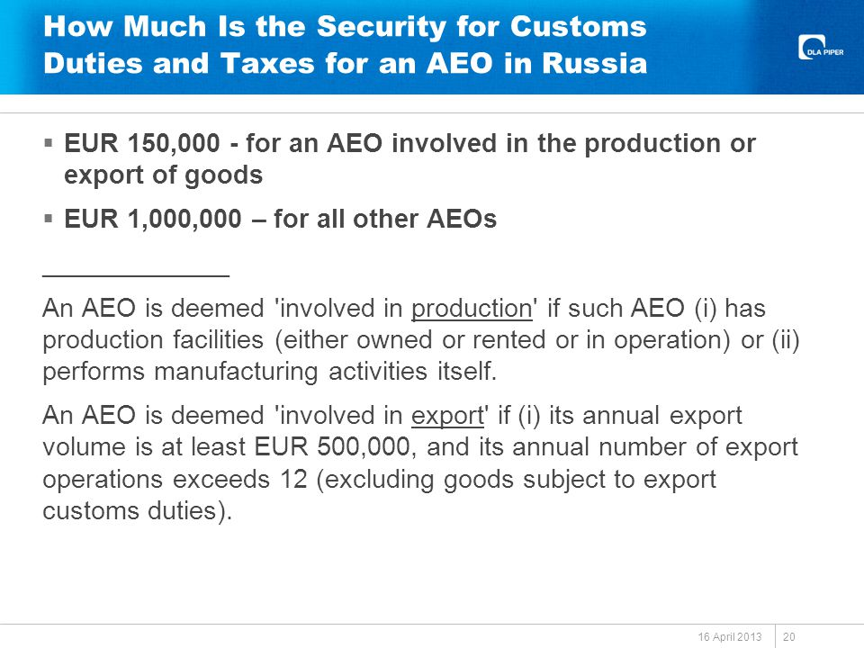 How Much Is the Security for Customs Duties and Taxes for an AEO in Russia