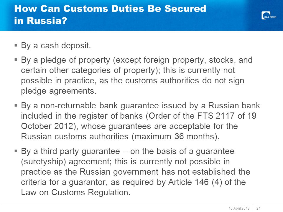 How Can Customs Duties Be Secured in Russia