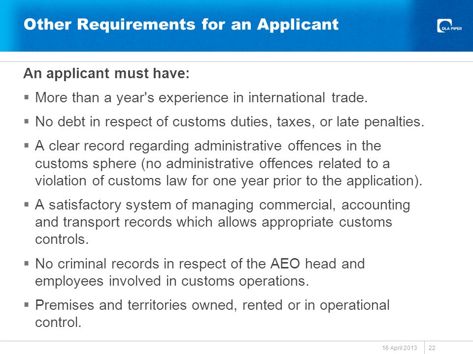Other Requirements for an Applicant