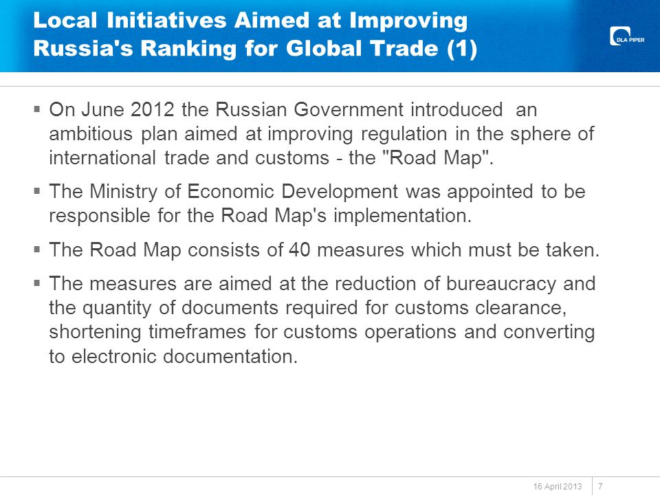 Local Initiatives Aimed at Improving Russia s Ranking for Global Trade (1)