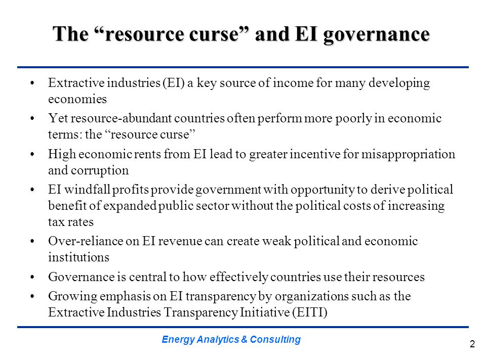 The resource curse and EI governance