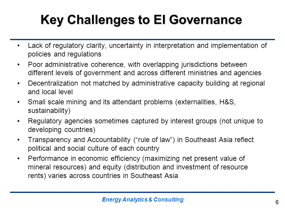 Key Challenges to EI Governance