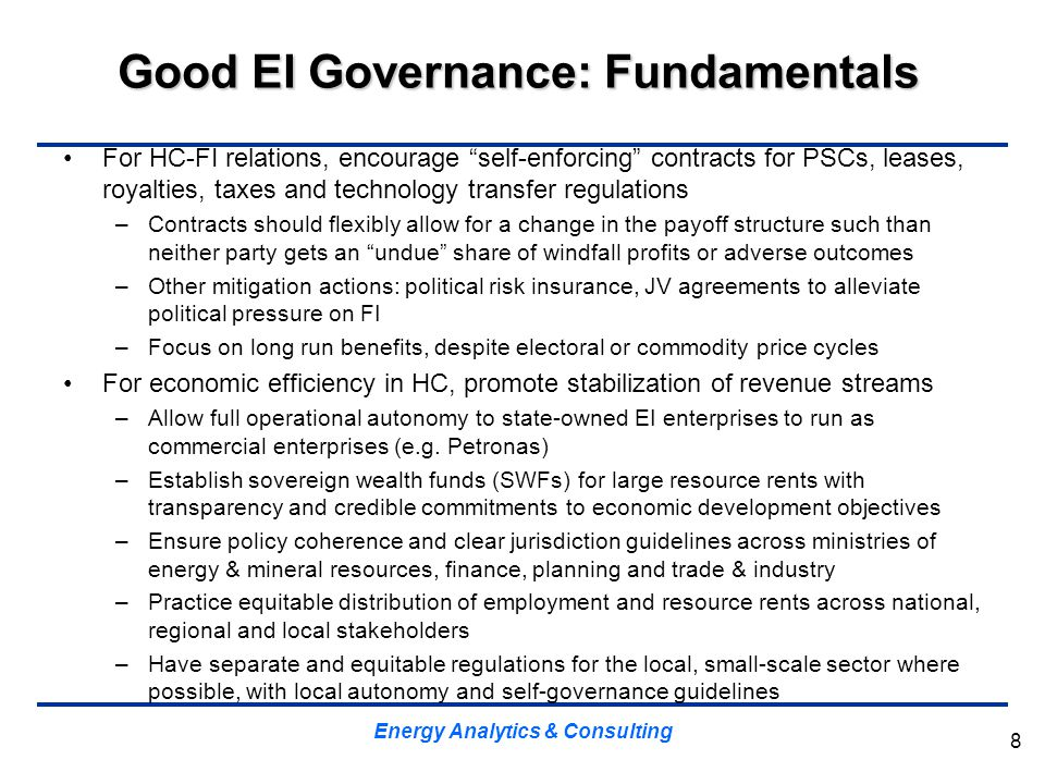Good EI Governance: Fundamentals
