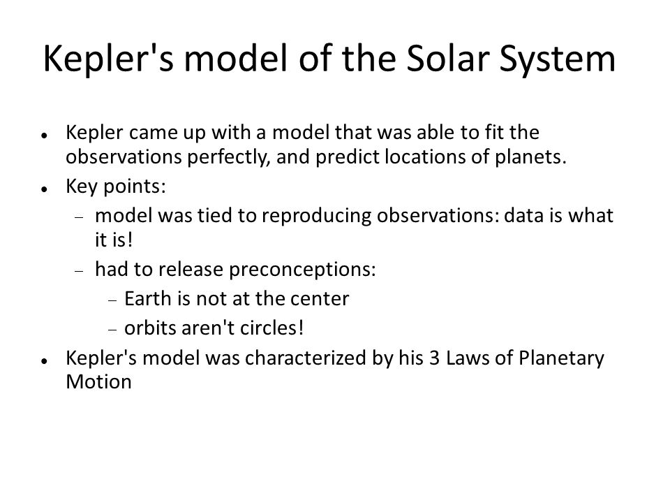 Kepler s model of the Solar System