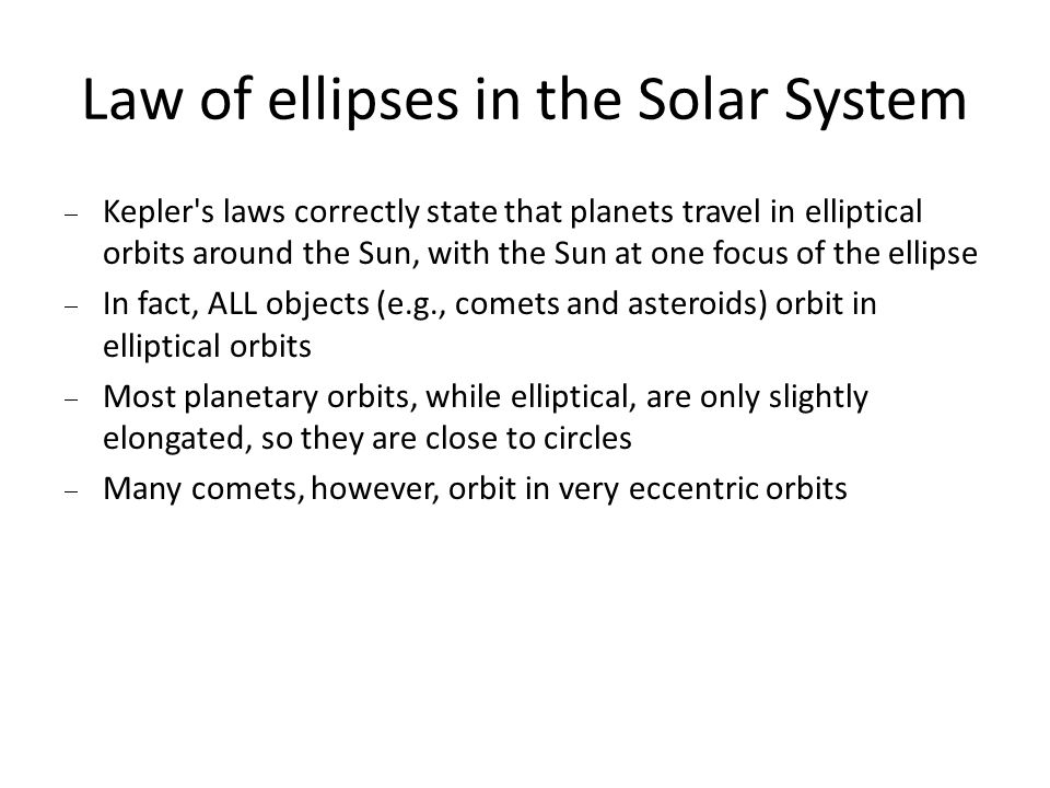 Law of ellipses in the Solar System