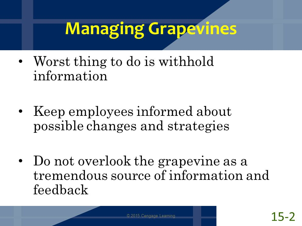 Managing Grapevines Worst thing to do is withhold information