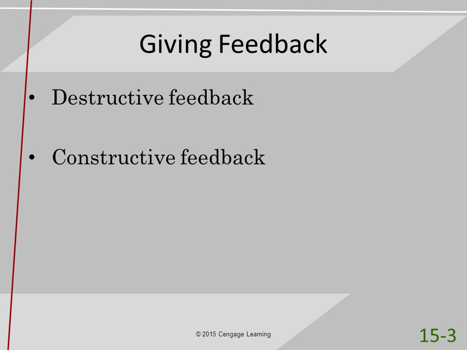 Giving Feedback Destructive feedback Constructive feedback 15-3