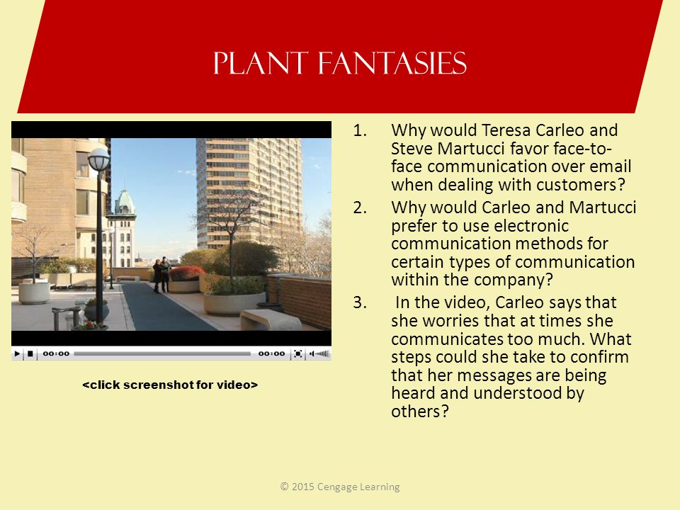 Plant Fantasies Why would Teresa Carleo and Steve Martucci favor face-to-face communication over email when dealing with customers