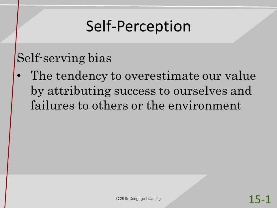 Self-Perception Self-serving bias