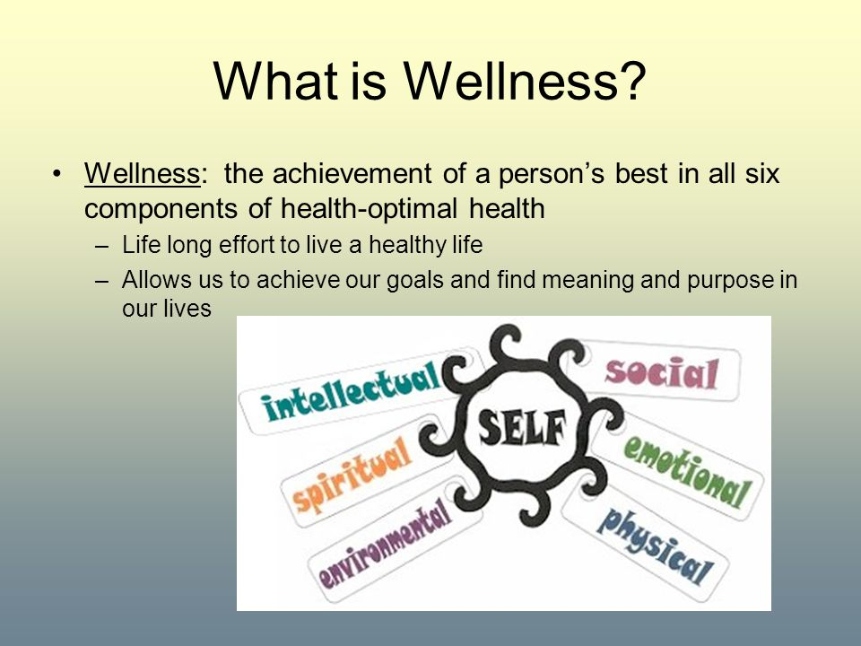 What is Wellness Wellness: the achievement of a person's best in all six components of health-optimal health.