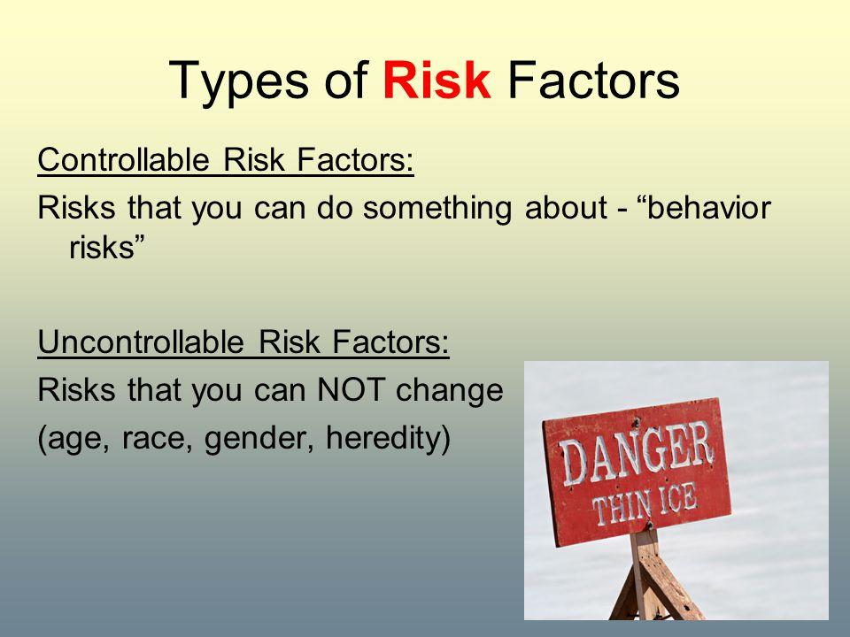 Types of Risk Factors Controllable Risk Factors:
