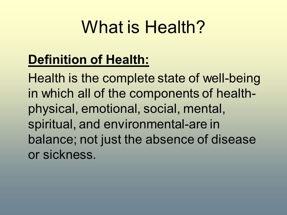What is Health Definition of Health: