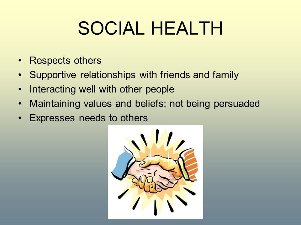 SOCIAL HEALTH Respects others