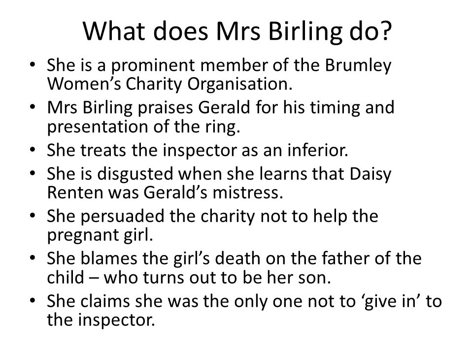 What does Mrs Birling do