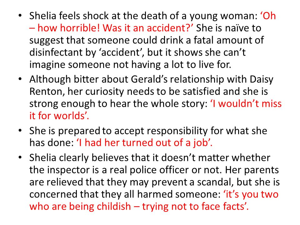 Shelia feels shock at the death of a young woman: 'Oh – how horrible
