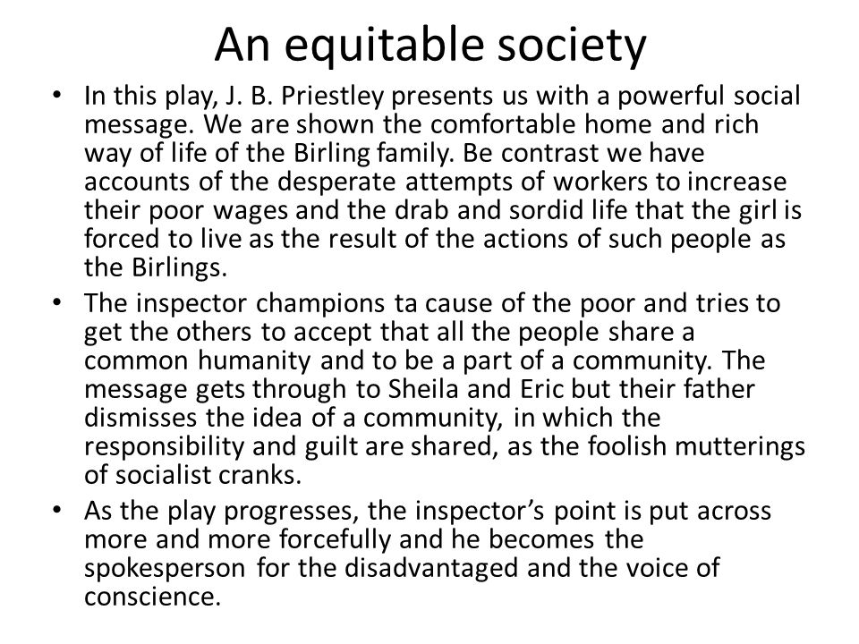 An equitable society