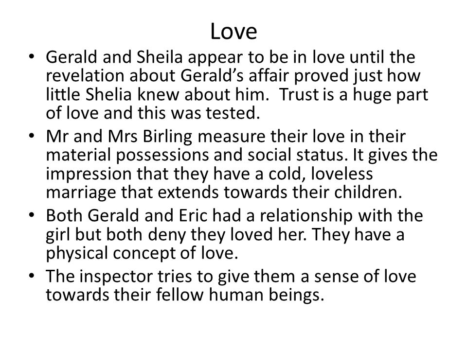 an inspector calls gerald and sheilas relationship poems