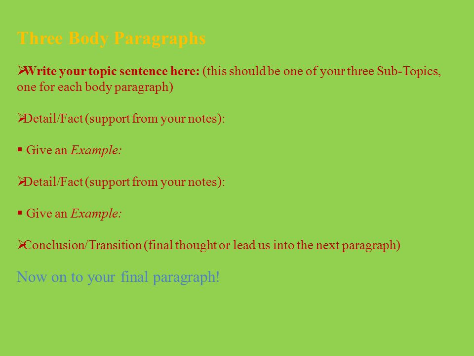 Three Body Paragraphs Now on to your final paragraph!