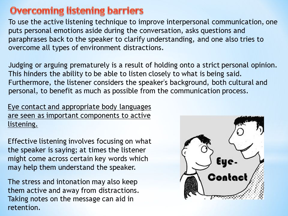 Overcoming listening barriers