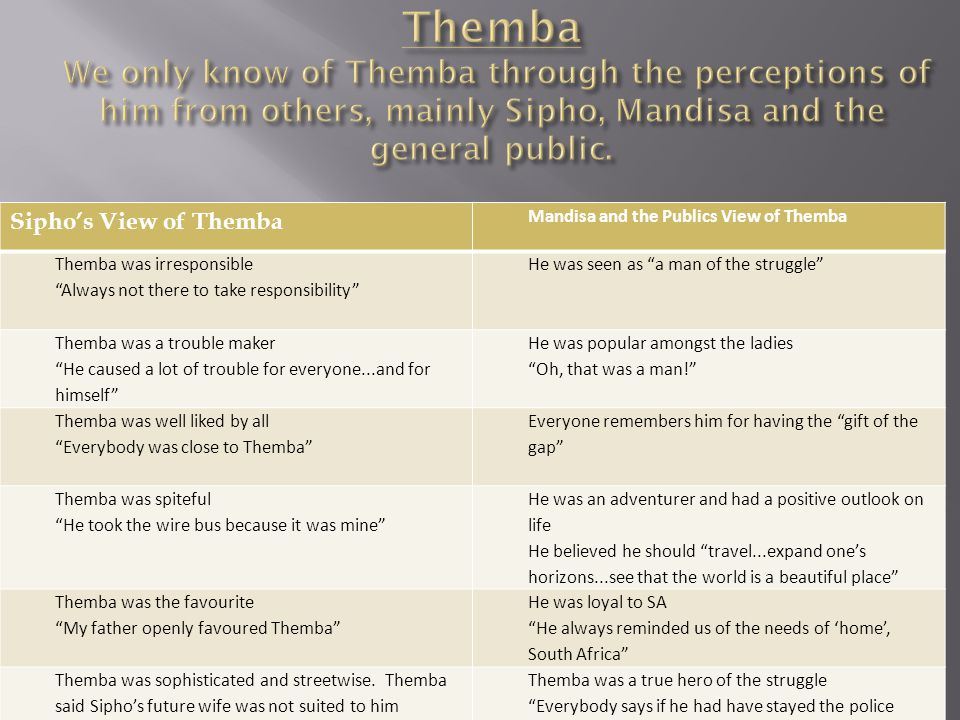 Themba We only know of Themba through the perceptions of him from others, mainly Sipho, Mandisa and the general public.