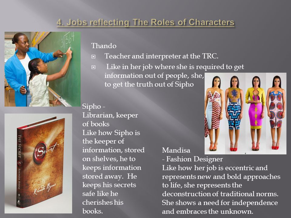 4. Jobs reflecting The Roles of Characters