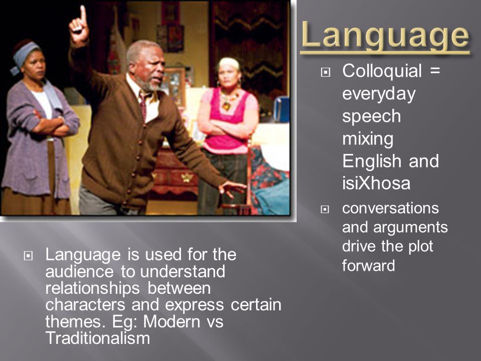 Language Colloquial = everyday speech mixing English and isiXhosa