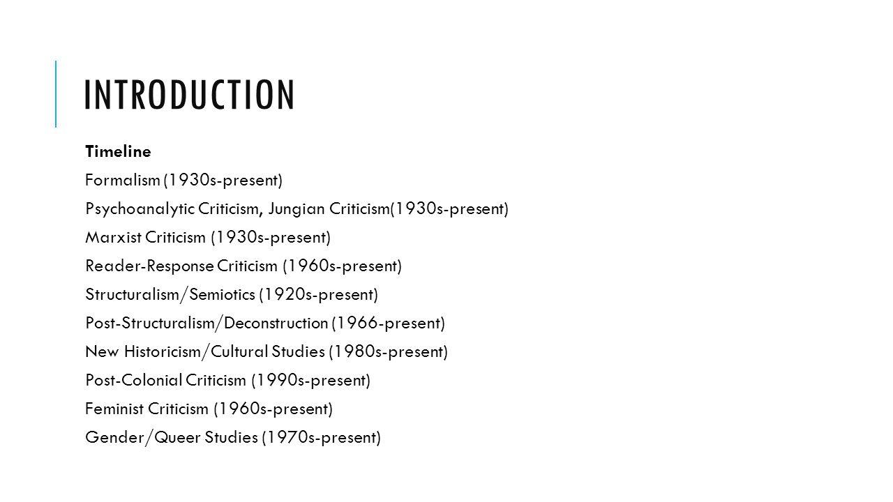 Introduction Timeline Formalism (1930s-present)