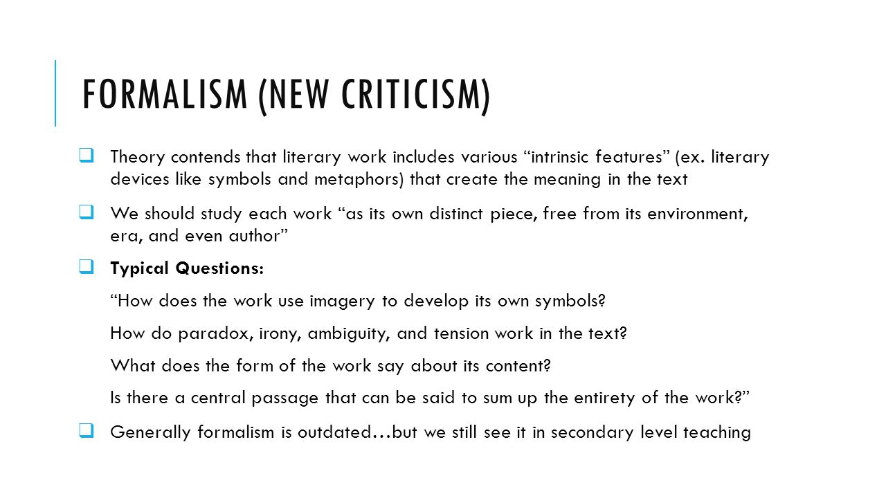 formalism and new criticism essay