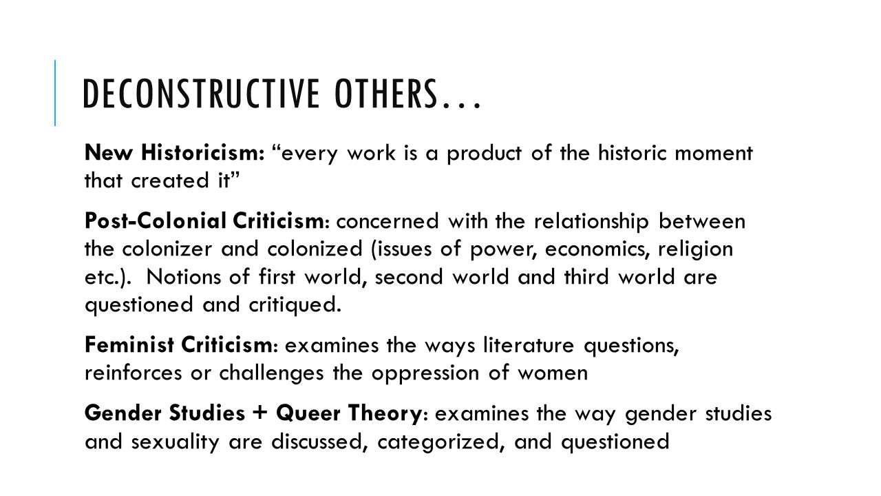 Deconstructive Others…