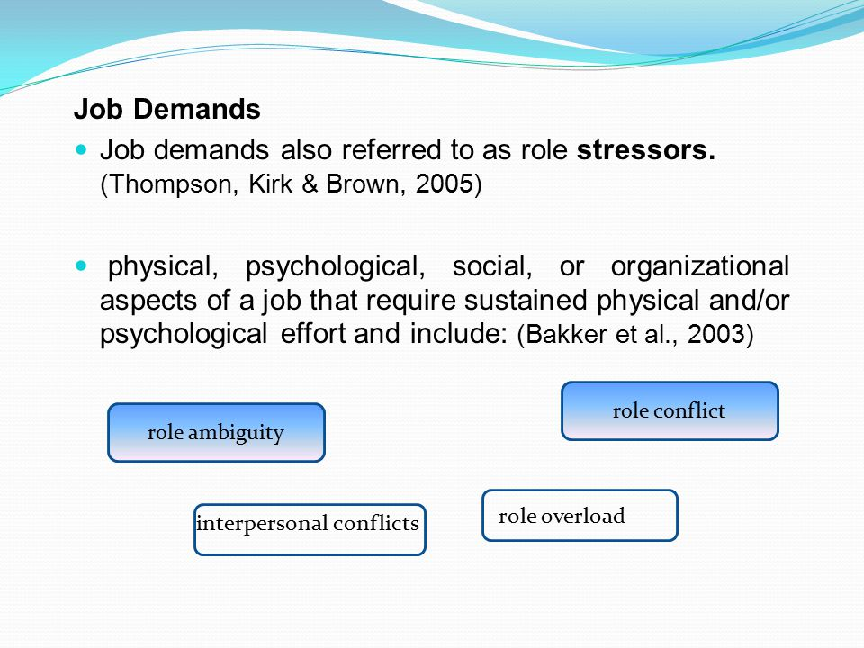 Job Demands Job demands also referred to as role stressors. (Thompson, Kirk & Brown, 2005)