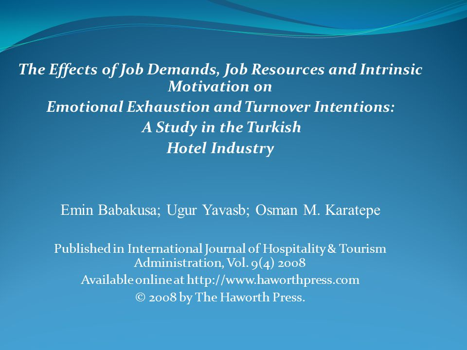 The Effects of Job Demands, Job Resources and Intrinsic Motivation on