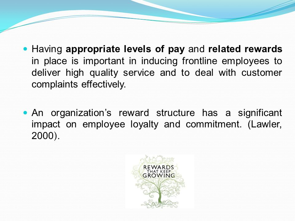 Having appropriate levels of pay and related rewards in place is important in inducing frontline employees to deliver high quality service and to deal with customer complaints effectively.